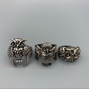 NWOT Set of 3 Silver Owl Rings Size 11